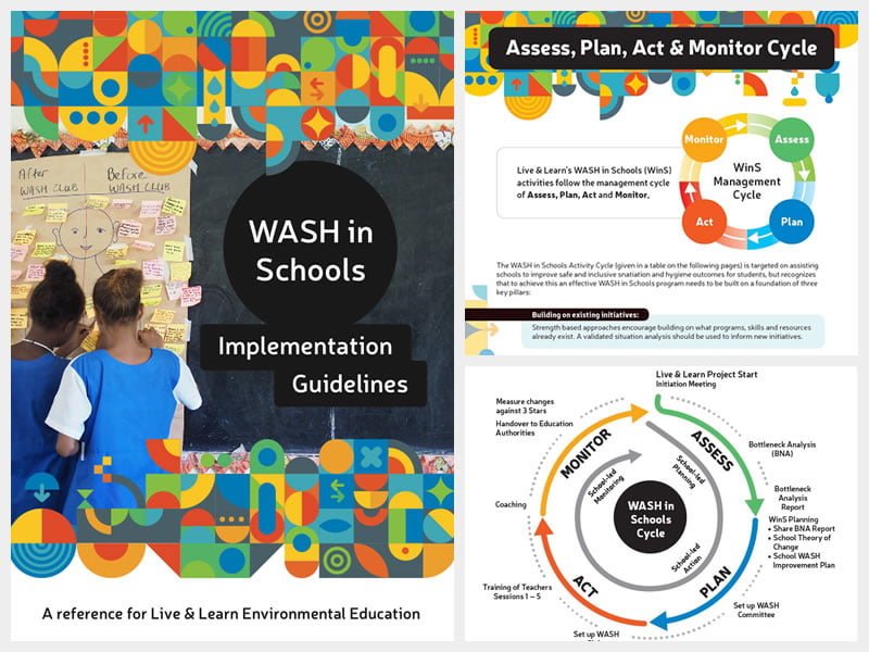 Cover and example pages of WASH in Schools guidelines