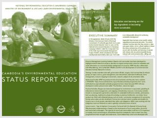 Cover page for the document 'Cambodia Environmental Education Status Report'