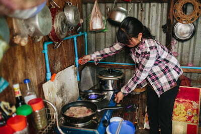 Gas from bio-digester in kitchen in Cambodia