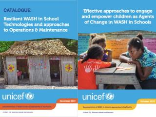 Covers of two resources for WASH in Schools produced with UNICEF